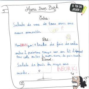 concours Mordelire de mai 2019 (n° 377), «Ton menu trop berk» : Angele. B (71)