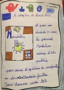"""Concours Mordelire """"Fais ta une !"""" - Loann 9 ans"""